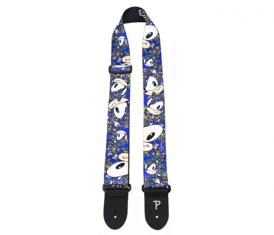 """Sonic The Hedgehog Faces Pattern guitar strap. 2"""" Heat Transfer Design on Polyester Webbing. Adjustable Length 39"""" to 58"""""""