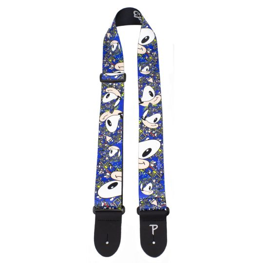 "Sonic The Hedgehog Faces Pattern guitar strap. 2"" Heat Transfer Design on Polyester Webbing. Adjustable Length 39"" to 58"""