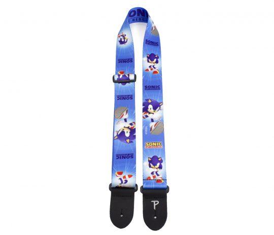 "Sonic The Hedgehog Blue Pattern guitar strap. 2"" Heat Transfer Design on Polyester Webbing. Adjustable Length 39"" to 58"""