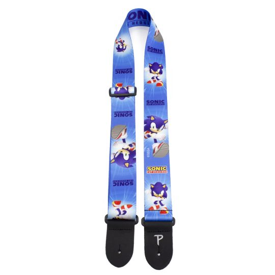 "Sonic The Hedgehog Blue Pattern guitar strap. 2"" Heat Transfer Design on Polyester Webbing. Adjustable Length 39"" to 58"""