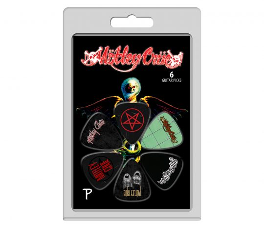 "6 Pack Of Mötley Crüe Official Licensing Variety Pack Celluloid Guitar Picks Motley Crüe was founded in 1981 in Los Angeles, California. The original bad boys of rock went on to sell over 100 million albums and headline arenas around the world. Known for their classics like ""Dr. Feelgood"", ""Home Sweet Home"", ""Shout At The Devil"" and ""Girls, Girls, Girls"", the Crüe get heads banging all across the planet. After breaking up in 2015 the group got back together in 2018 and started collaborating on new songs. The wild and debauched story of the band's rise to fame was featured in the Netflix biopic ""The Dirt"" in 2019. The Crüe is currently preparing to bring the mayhem with their latest tour ""The Stadium Tour."" Create your own debauchery and play along with the awesome riffs of guitarist Mick Mars and bassist Nikki Sixx with Perri's official licensed guitar picks and straps. The picks feature designs from their iconic hits ""Dr. Feelgood"", ""Girls, Girls, Girls"", ""Theater Of Pain"" and ""Shout At The Devil"" bringing the mayhem into your home so when you shout at the devil, he hears."