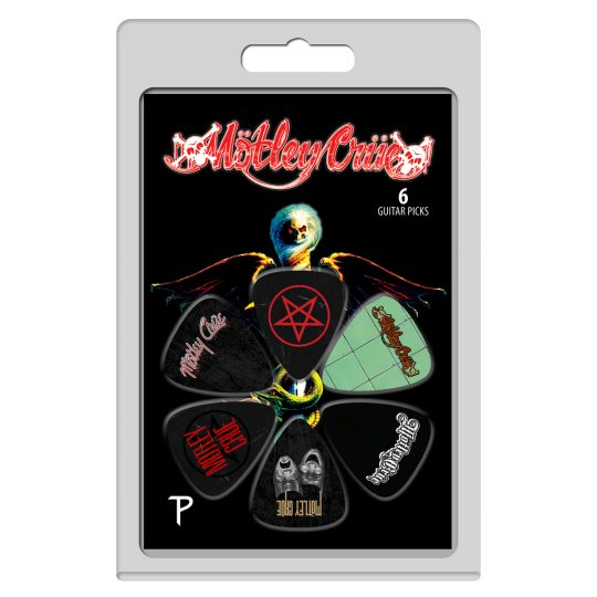 """6 Pack Of Mötley Crüe Official Licensing Variety Pack Celluloid Guitar Picks Motley Crüe was founded in 1981 in Los Angeles, California. The original bad boys of rock went on to sell over 100 million albums and headline arenas around the world. Known for their classics like """"Dr. Feelgood"""", """"Home Sweet Home"""", """"Shout At The Devil"""" and """"Girls, Girls, Girls"""", the Crüe get heads banging all across the planet. After breaking up in 2015 the group got back together in 2018 and started collaborating on new songs. The wild and debauched story of the band's rise to fame was featured in the Netflix biopic """"The Dirt"""" in 2019. The Crüe is currently preparing to bring the mayhem with their latest tour """"The Stadium Tour."""" Create your own debauchery and play along with the awesome riffs of guitarist Mick Mars and bassist Nikki Sixx with Perri's official licensed guitar picks and straps. The picks feature designs from their iconic hits """"Dr. Feelgood"""", """"Girls, Girls, Girls"""", """"Theater Of Pain"""" and """"Shout At The Devil"""" bringing the mayhem into your home so when you shout at the devil, he hears."""